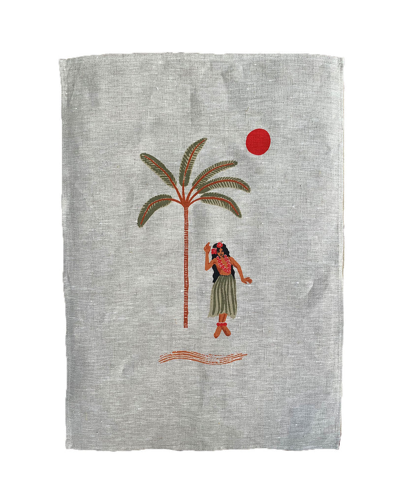 hula betty linen art print | natural