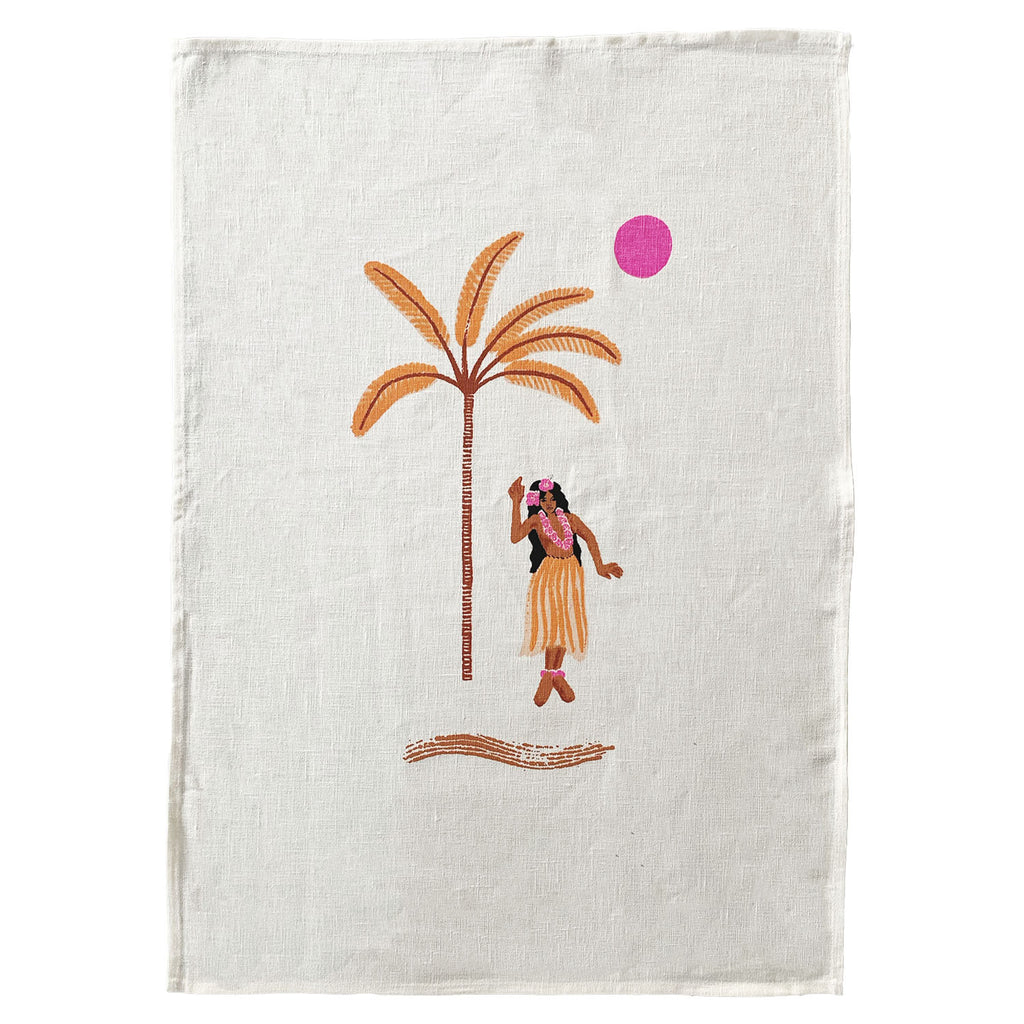 hula gigi linen art print | washed white