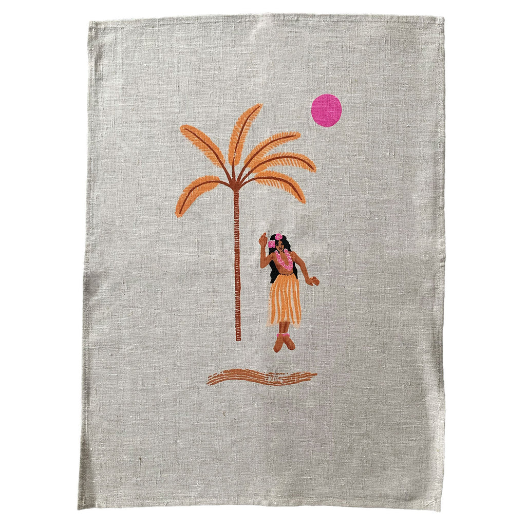 hula gigi linen art print | natural