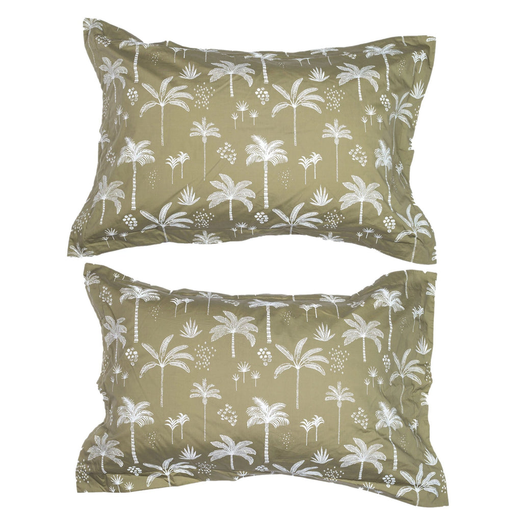 kawaii palms pillow pair | vintage khaki