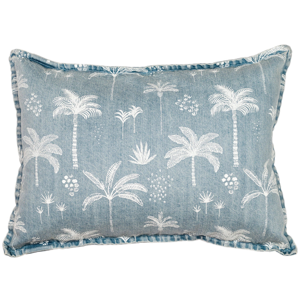 kawaii palm cushion- rectangle | denim