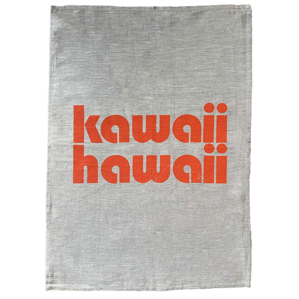 kawaii hawaii linen art print | natural