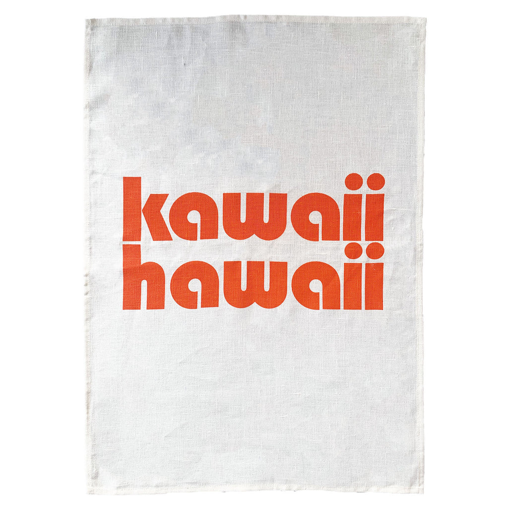 kawaii hawaii linen art print | washed white