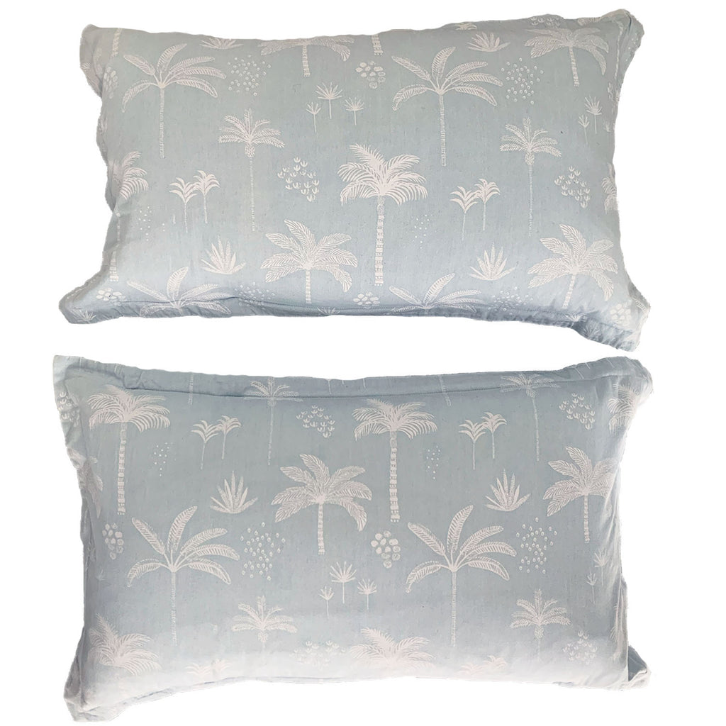 kawaii palms pillow pair | chambray