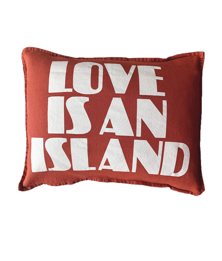love is an island cushion | washed red