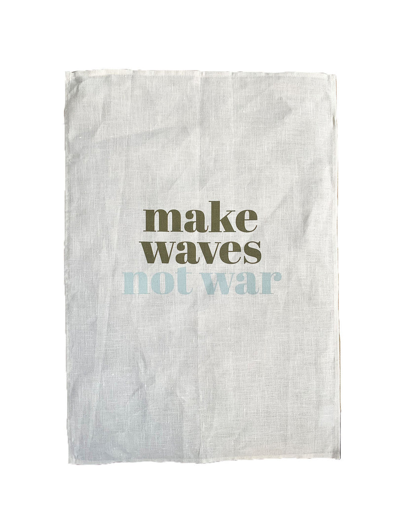 make waves not war linen art print | washed white