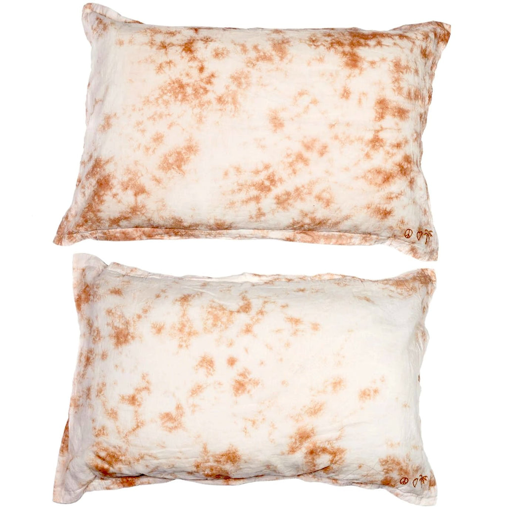 peace, love + palms pillow pair | blush