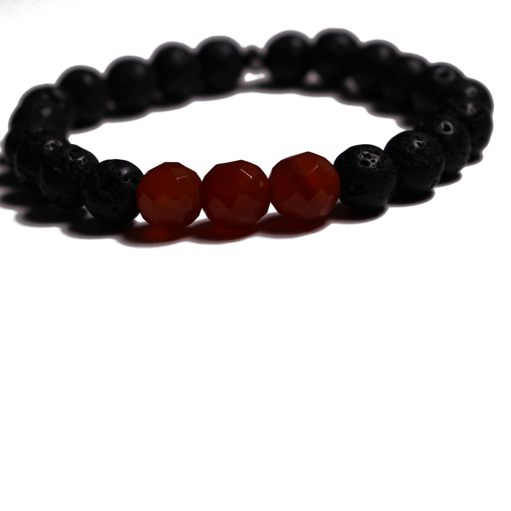 Aromatherapy Bracelet: Lava Stone and Carnelian (Faceted)