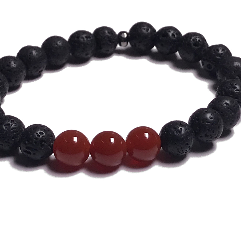Aromatherapy Bracelet: Lava Stone and Carnelian (Smooth)