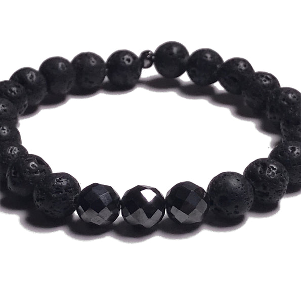 Aromatherapy Bracelet: Lava Stone and Hematite (Faceted)