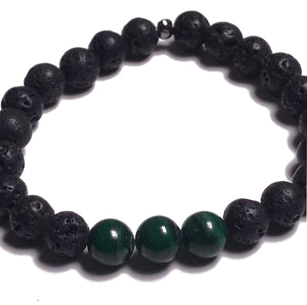 Aromatherapy Bracelet: Lava Stone and Malachite