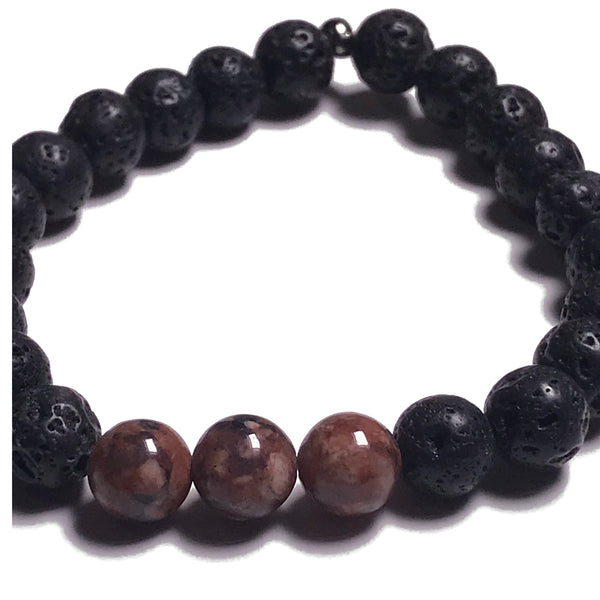 Aromatherapy Bracelet: Lava Stone and Rhodonite
