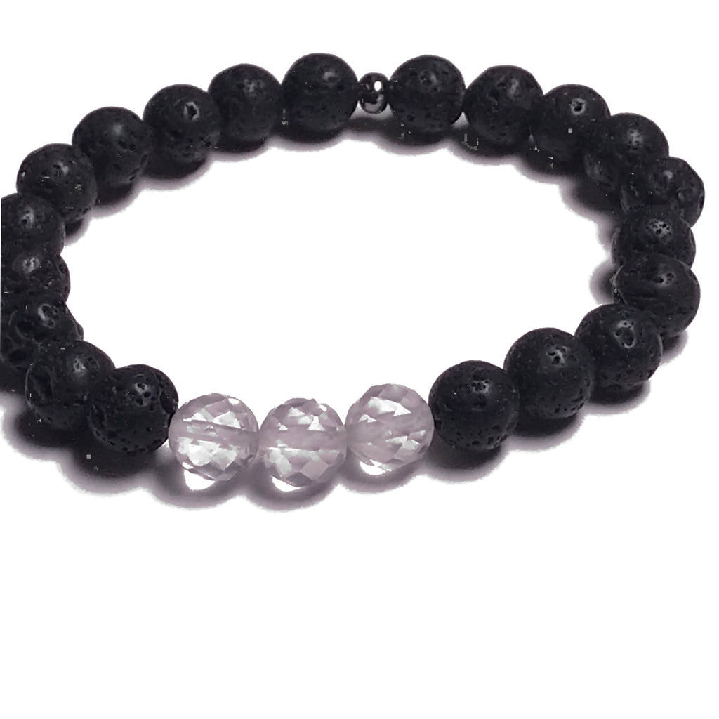 Aromatherapy Bracelet: Lava Stone and Rose Quartz (Faceted)