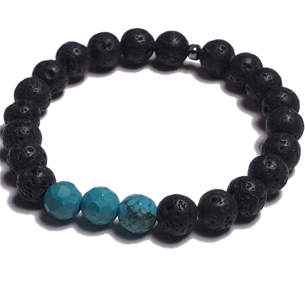 Aromatherapy Bracelet: Lava Stone and Turquoise (Faceted)