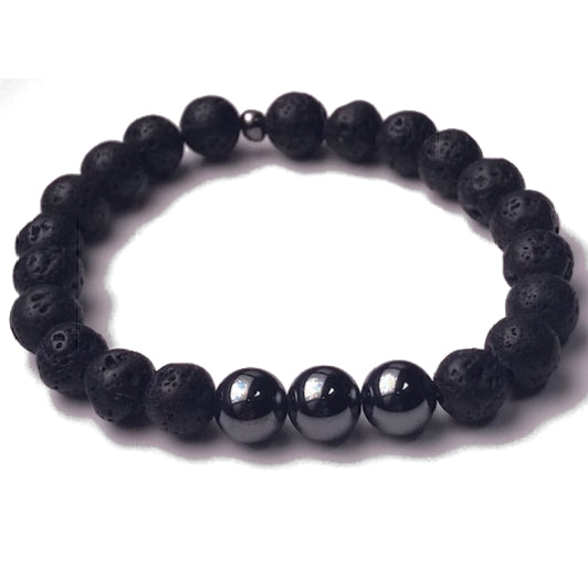 Aromatherapy Bracelet: Lava Stone and Hematite (Smooth)