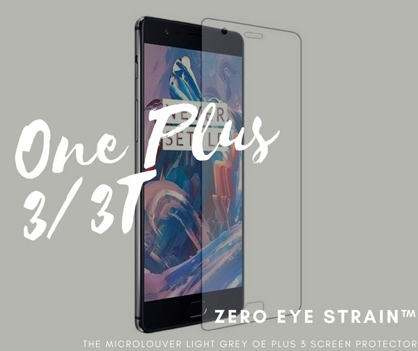 One Plus 3/3T - Fully Covered - Zero Eye Strain™ 3D Micro-Louver/ Tempered Glass. ALCS Screen.ZES Screen Protectors