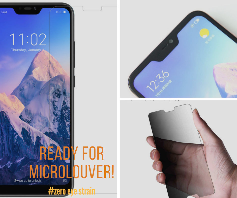 Redmi  6 Pro  - Fully Covered - Zero Eye Strain™ 3D Micro-Louver/ Tempered Glass. ALCS Screen.ZES Screen Protectors