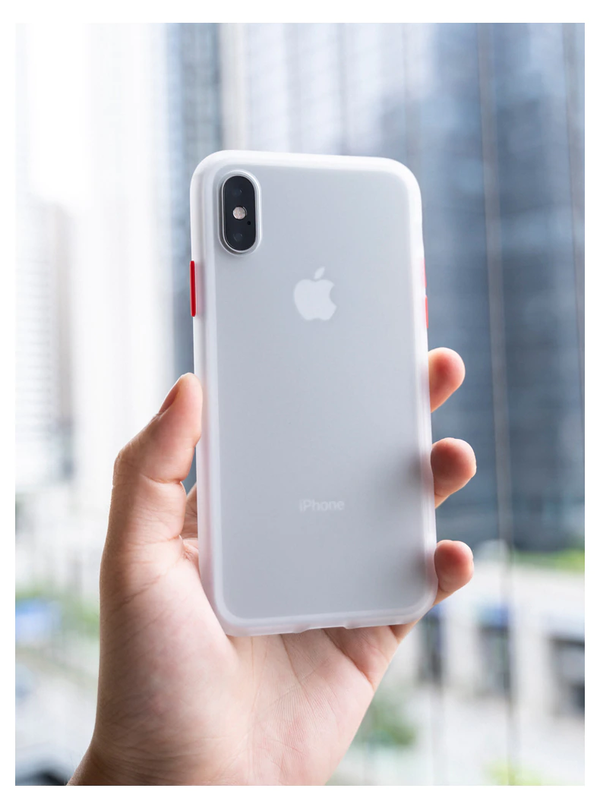 iPhone XS MAX  Frosted Matte Finish Case with SuperSmooth Grip™ Technology.Transparent + Red