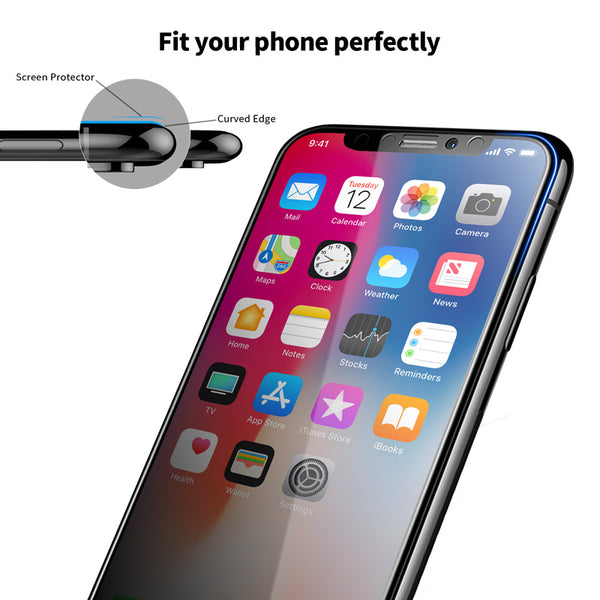 iPhone XR - Zero Eye Strain™ Micro-Louver Screen Protector/Tempered Glass.Microlouver 3D Screen Protector LIGHT Privacy (Premium Product) / Light Grey Edge to Edge 3D With PrivacyZES Screen Protectors
