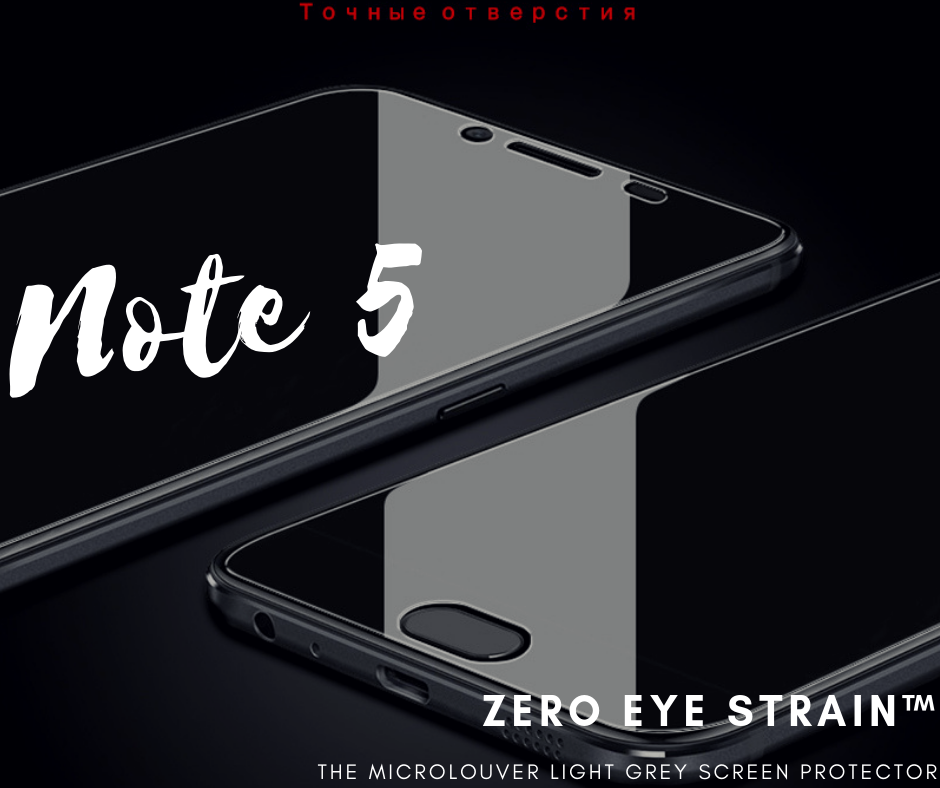 Samsung Note 5 - Fully Covered - Zero Eye Strain™ Micro-Louver Tempered Glass/ Screen Protector.(2 Pieces)ZES Screen Protectors
