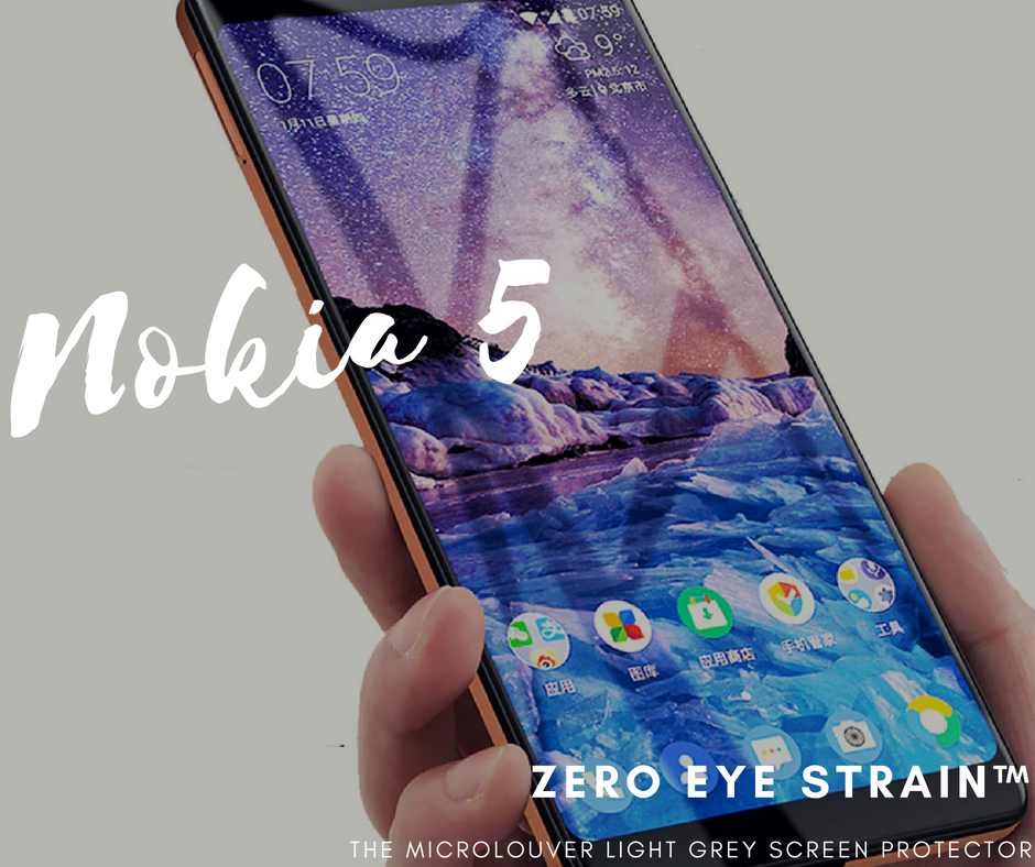 Nokia 5  - Fully Covered - Zero Eye Strain™ Micro-Louver Tempered Glass/ Screen Protector. (2 Pieces)ZES Screen Protectors