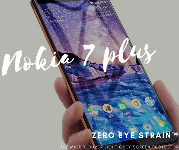 Nokia 7 Plus  - Zero Eye Strain™ 3D Micro-Louver/ Tempered Glass. ALCS Screen.ZES Screen Protectors