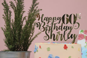 Personalised Gold Cursive paper cutout Cake Topper