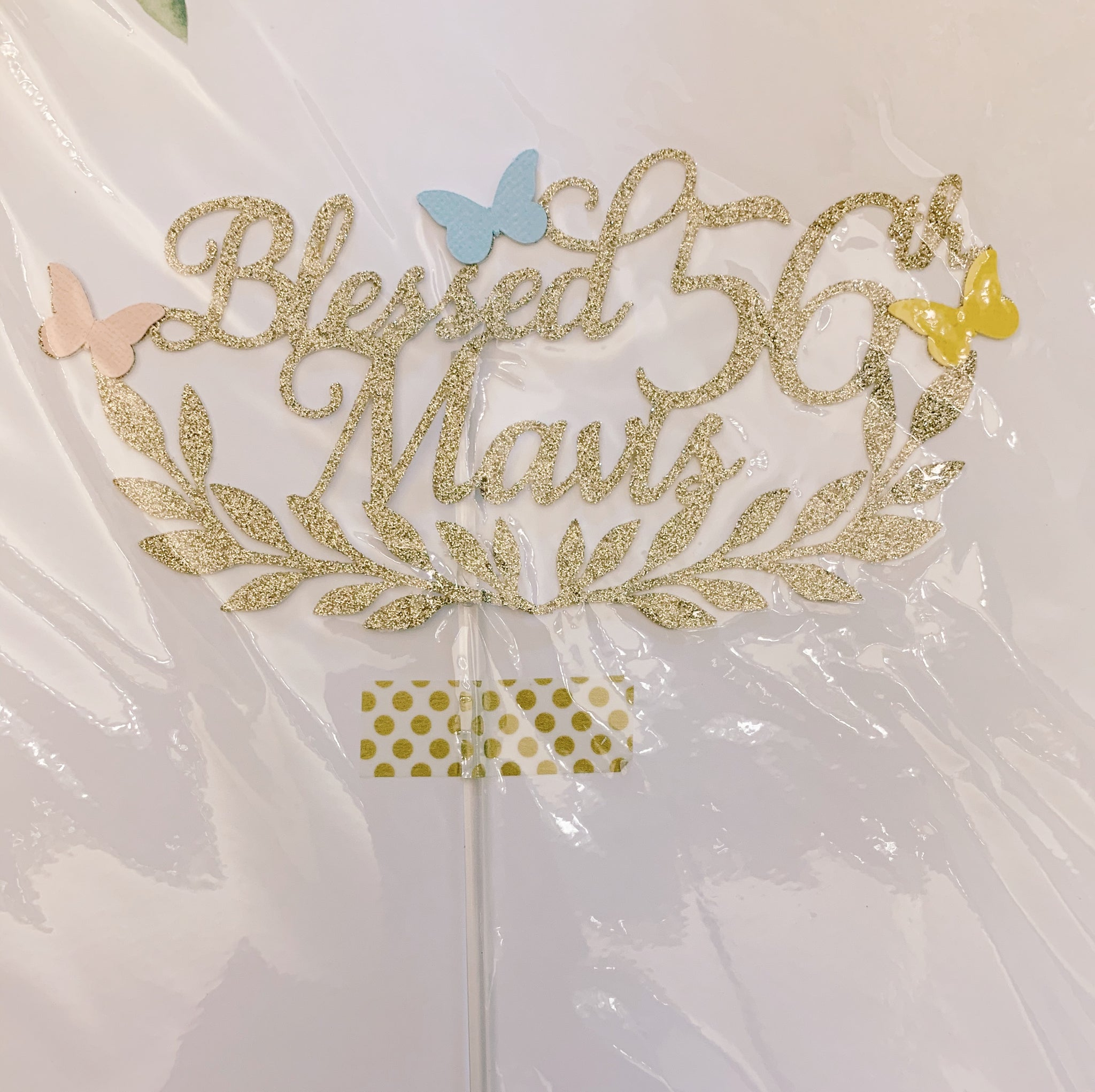 Blessed 56th Mavis Silver Glitter Cutout Paper Topper