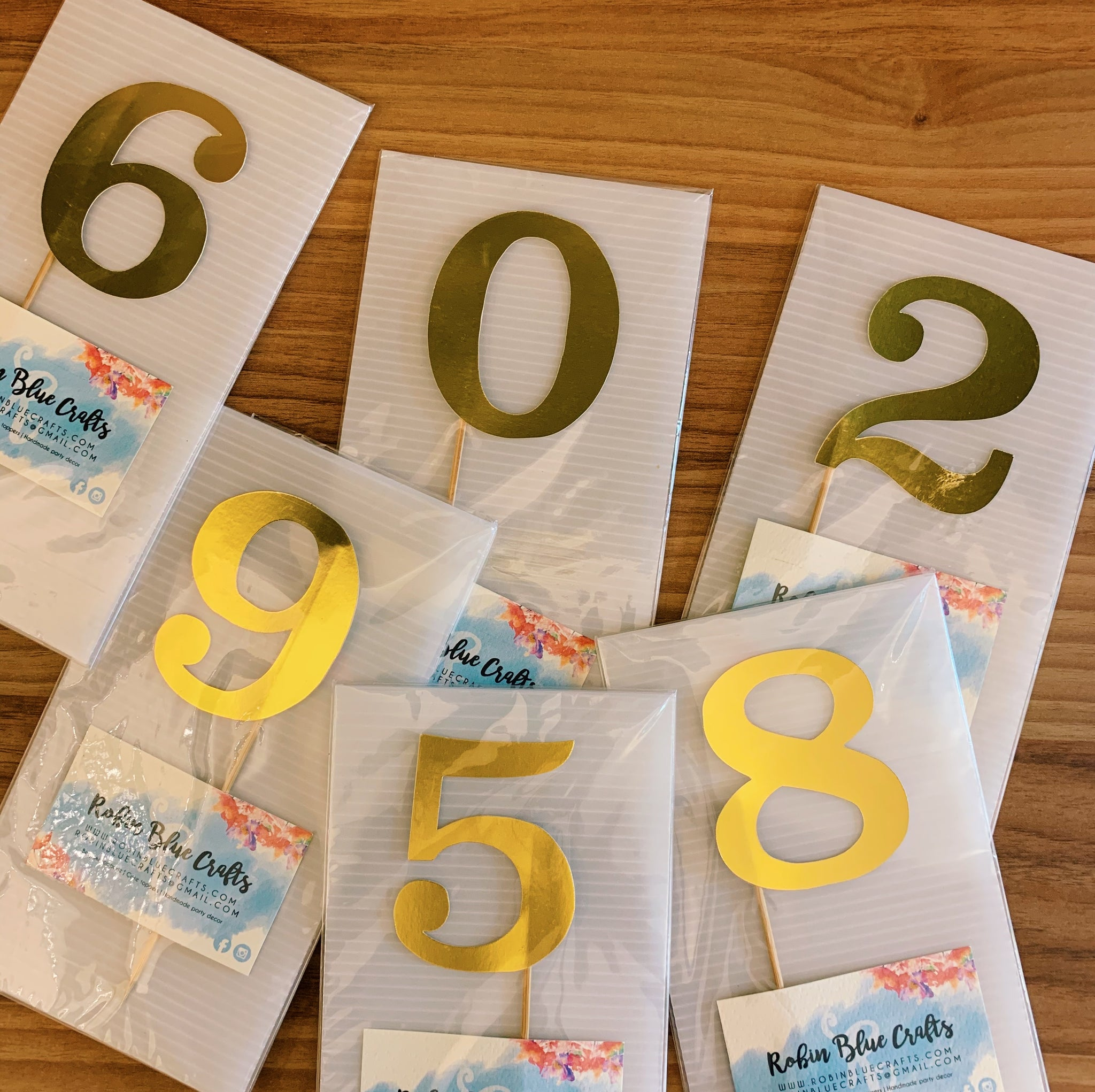 Numbers (0-9) Gold Cutout Paper Topper