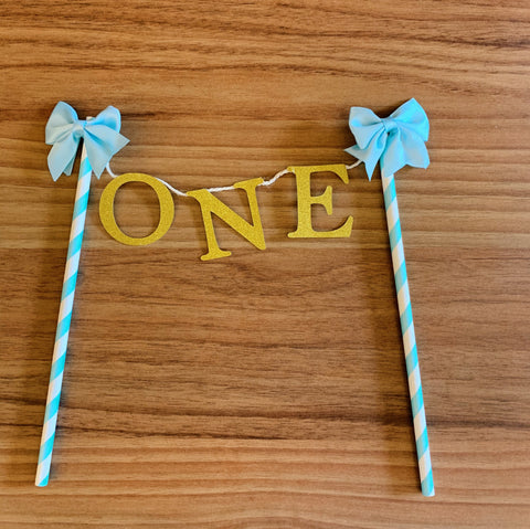 """ONE"" Cutout Paper Topper (Blue/Pink)"
