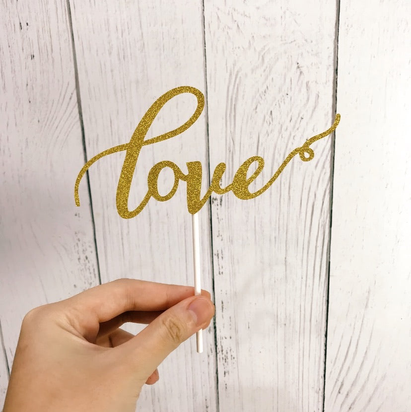 """love"" Gold Glitter Cutout Paper Topper"