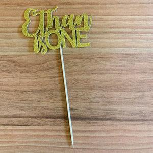 Ethan is ONE Gold Glitter Cutout Paper Topper