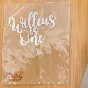 Willius is One Silver Cutout Paper Topper