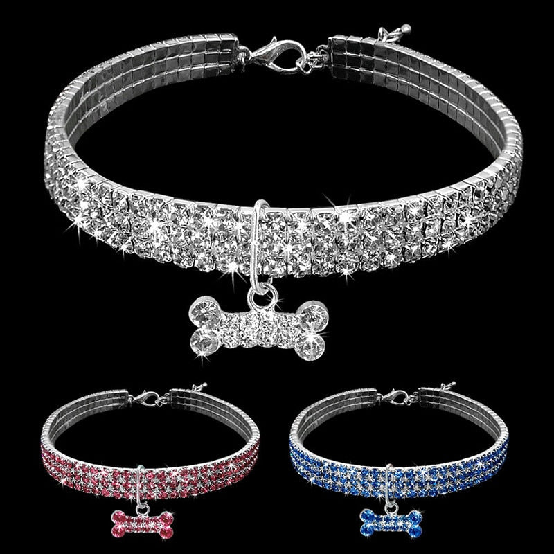 Dog Rhinestone Collar Necklace (Multicolor) - YourSmartPets