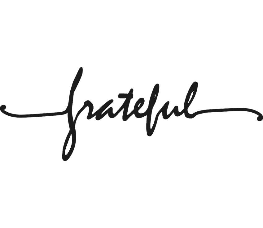 Grateful with Tails Cursive Metal Wall Art