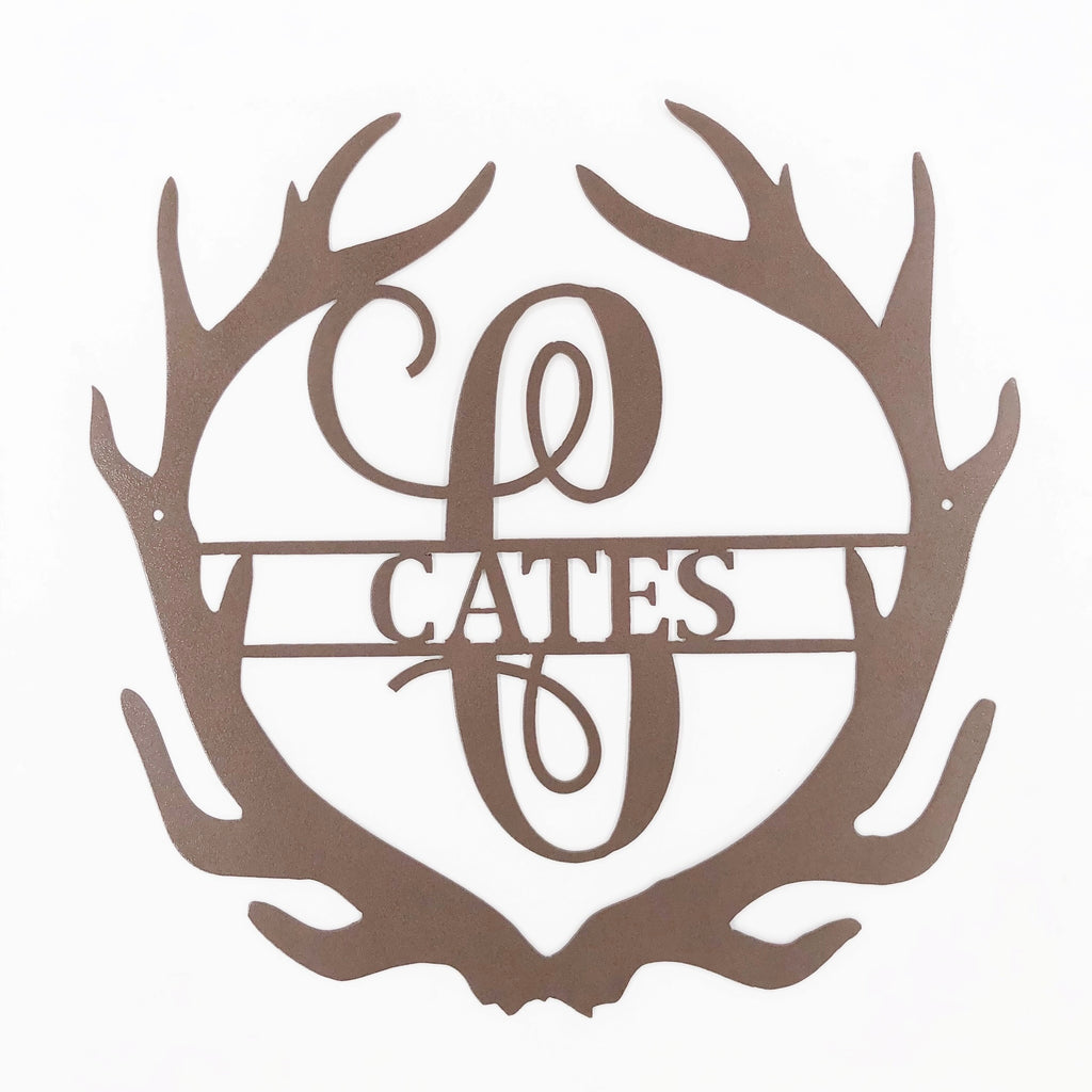 Letter Monograms - Antler Split metal wall art