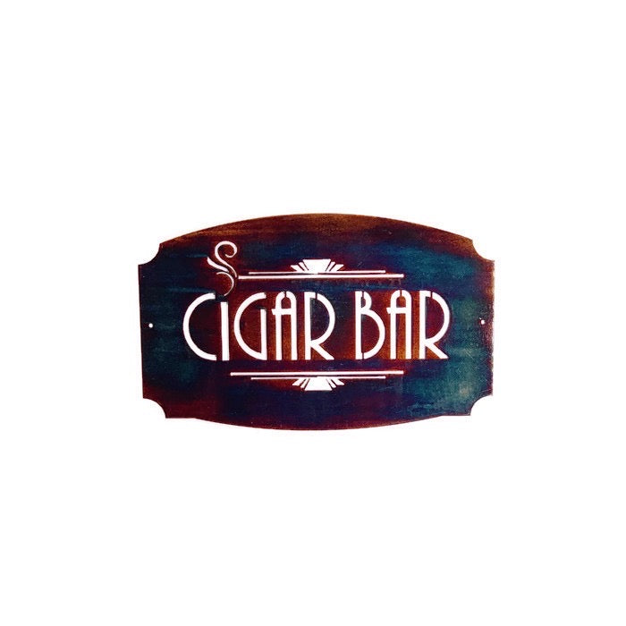 Cigar Bar metal wall art