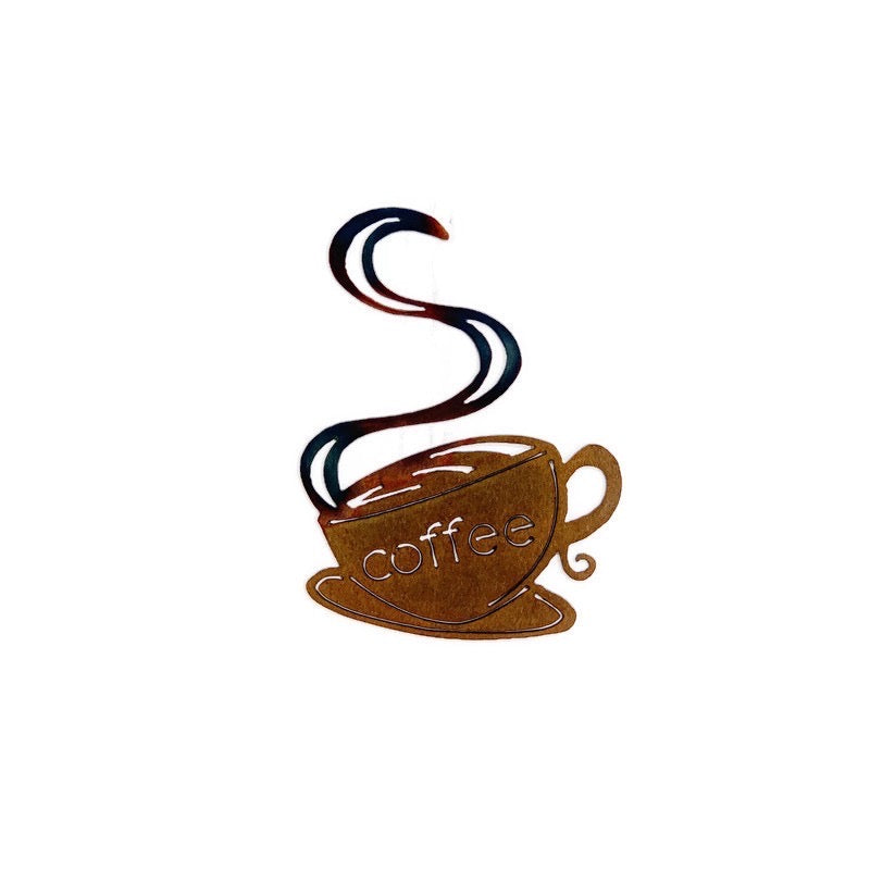 Hanging Coffee Cup metal wall art