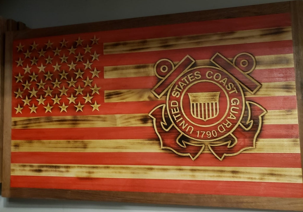 US Coast Guard American Flag Wood Wall Art