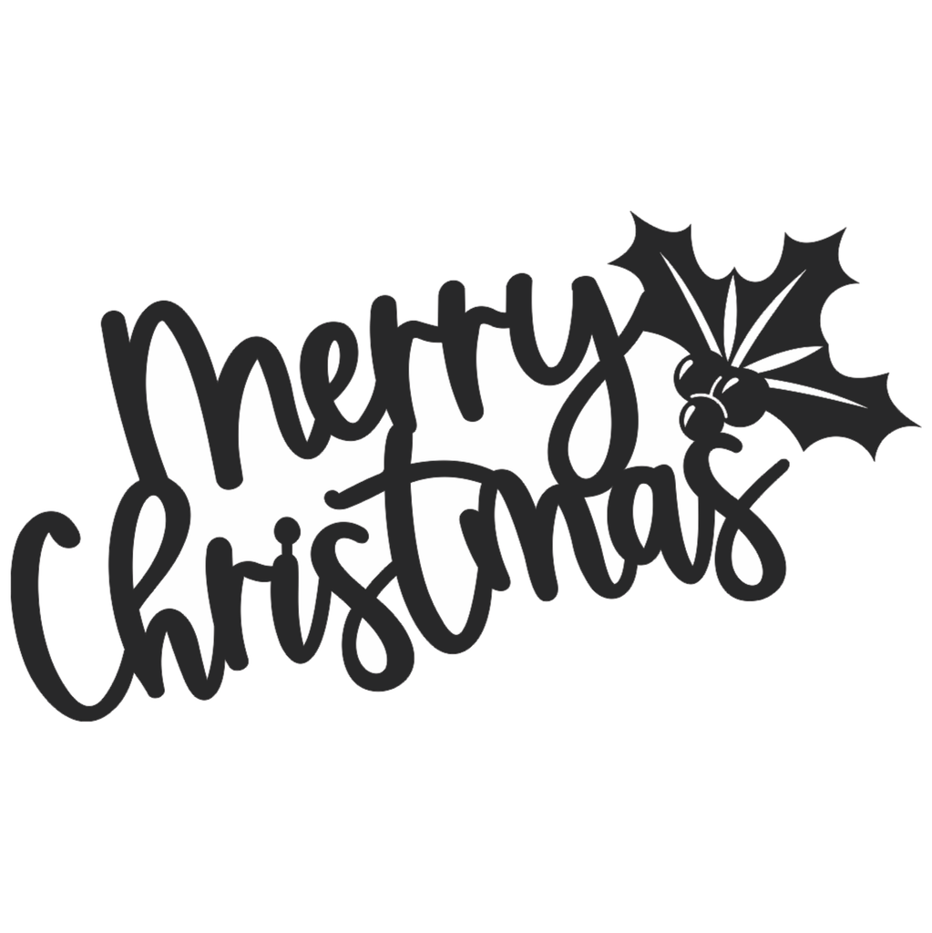 Merry Christmas with Holly Cursive Word Metal Wall Art