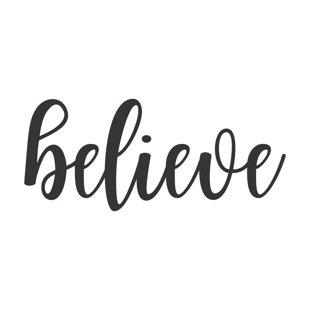 Believe Cursive Metal Wall Art
