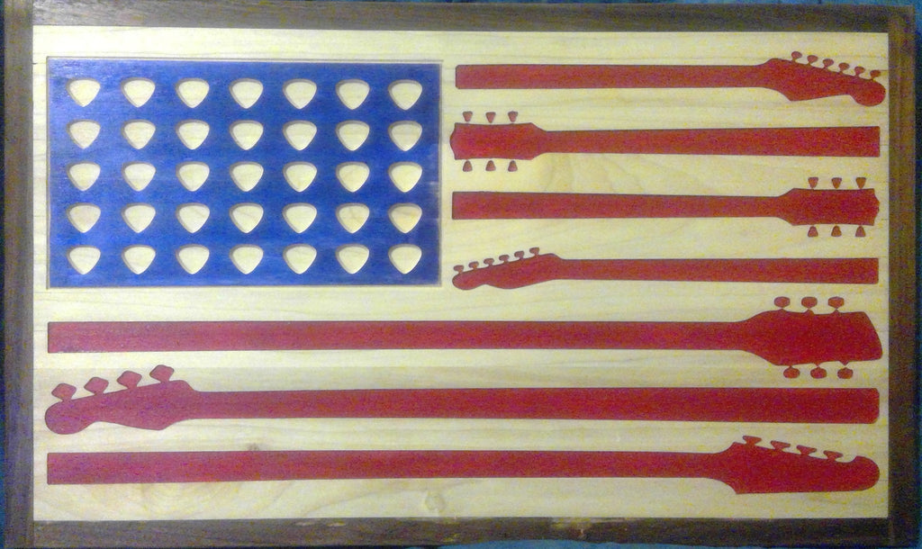 Guitar American Flag Wood Wall Art