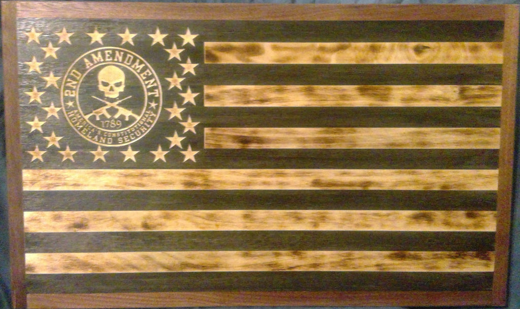 2nd Amendment American Flag Wood Wall Art