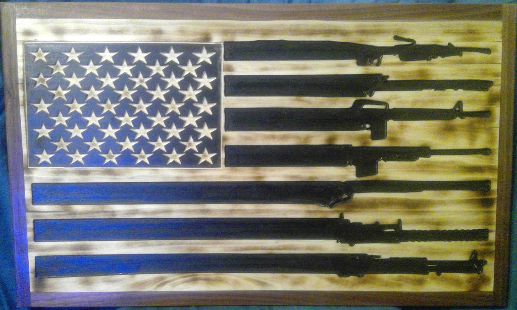 Gun American Flag Wood Wall Art