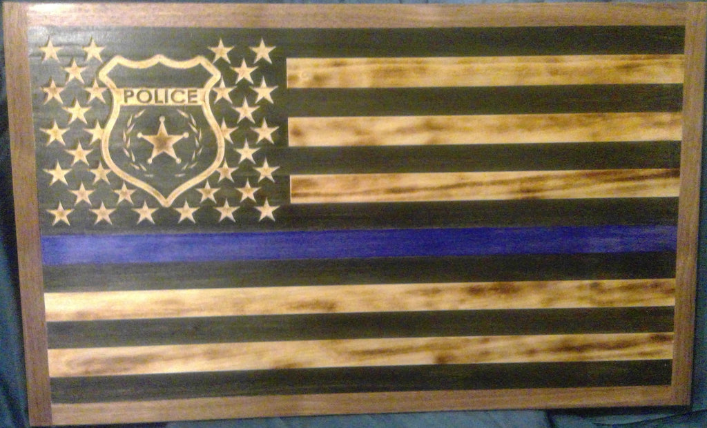Police First Responder American Flag Wood Wall Art