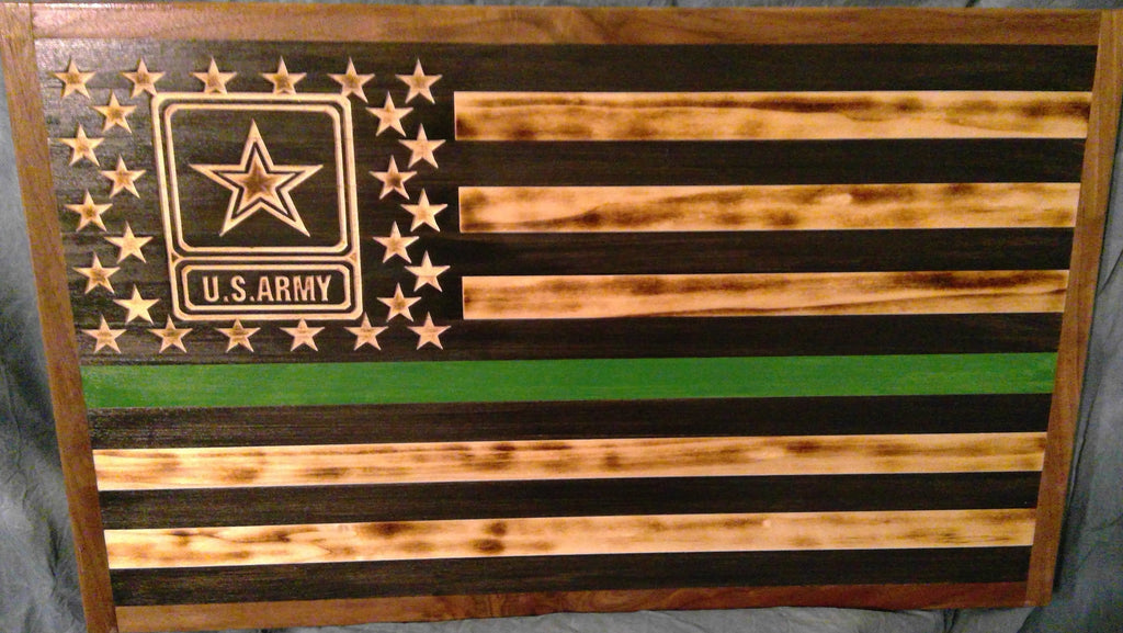 US Army First Responder American Flag Wood Wall Art
