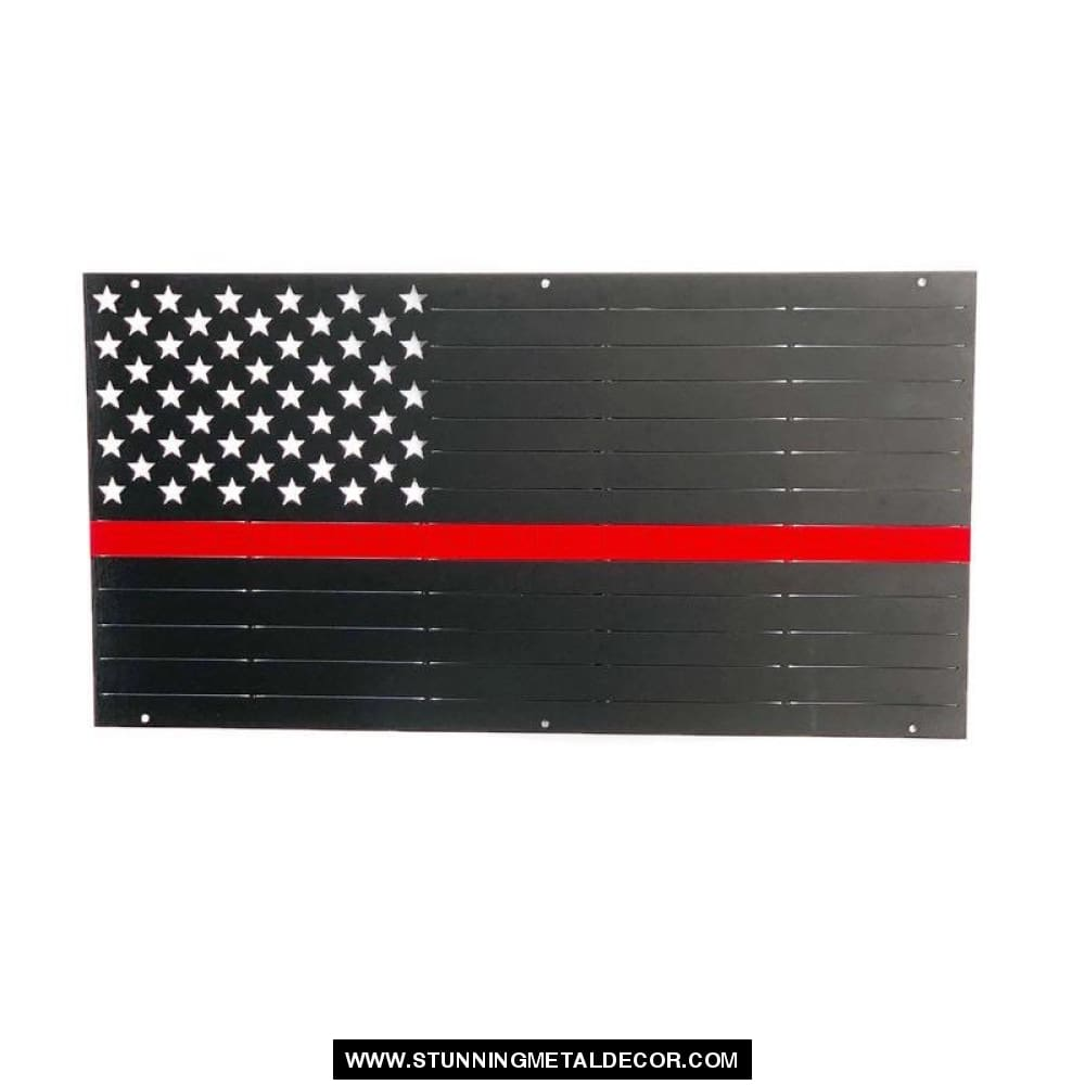 American Flag First Responder Firefighter Metal Wall Art 2 Foot (24X13) Patriotic