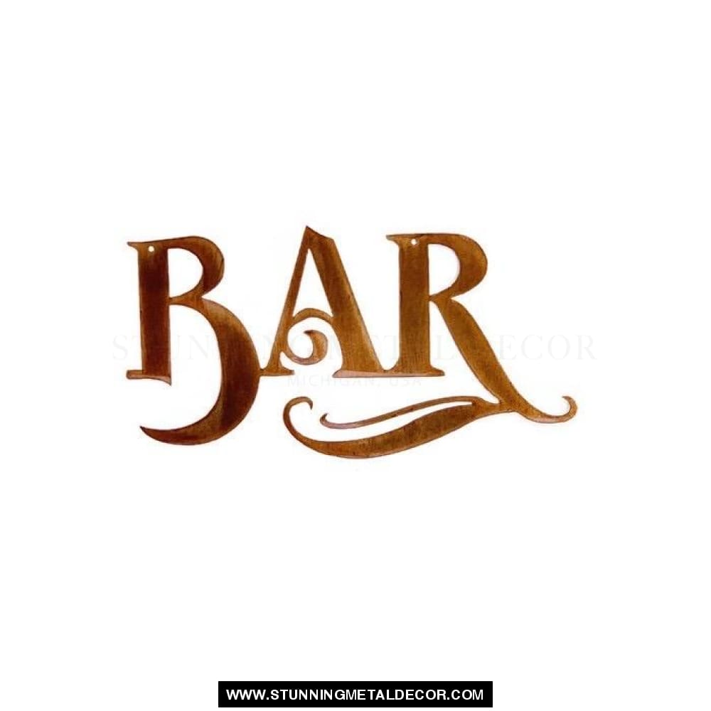 Bar Metal Wall Art Copper Bronze Signs
