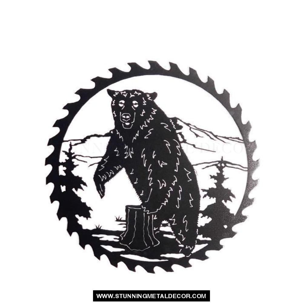 Bear Saw Blade Metal Wall Art Black Hunting