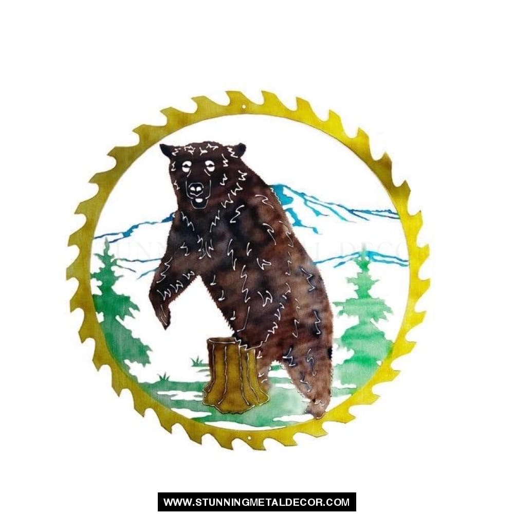 Bear Saw Blade Metal Wall Art Hunting